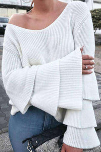 Layered Flare Sleeve V-neck Knitted Top - Lupsona