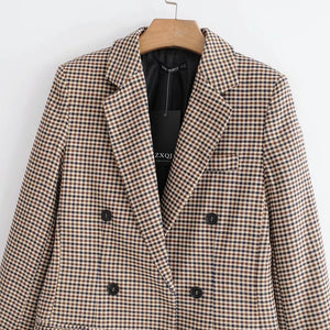 reteo style tartan two-lines button blazer jacket - Lupsona