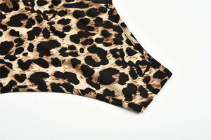 Leopard Print Turtleneck Slim Body Top - Lupsona