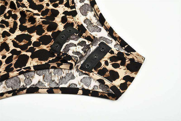 Leopard Print Turtleneck Slim Bodysuit Top