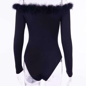 furry slash neck slim bodysuit - Lupsona
