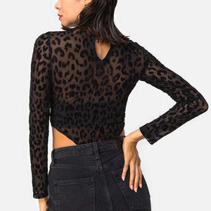 Mock Neck Black Leopard See-Through Bodysuit - Lupsona