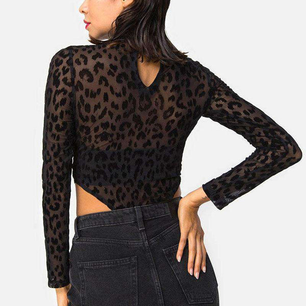 Mock Neck Black Leopard See-through Bodysuit