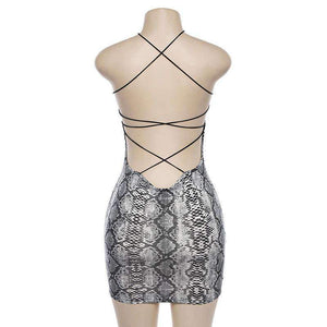 halter snake print back bandage bodycon dress - Lupsona