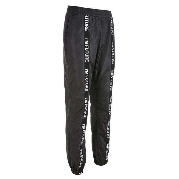 two-lines braid black punk harem pants