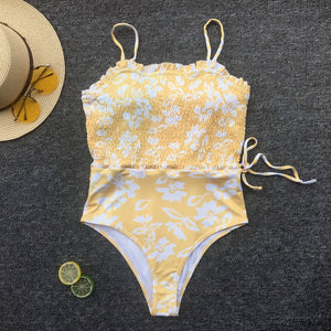 floral printed waist bandaged slim swimsuit - Lupsona
