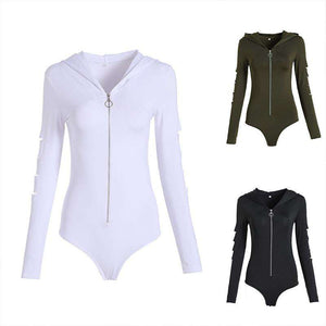 solid color hooded front zipper bodysuit - Lupsona
