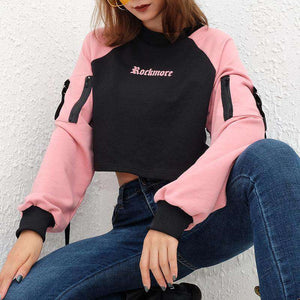 color patchwork gothic letters printed ribbon sweatshirt - Lupsona