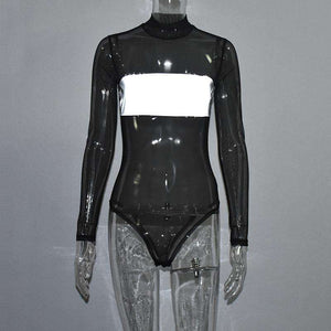 sheer mesh light-reflective bodysuit - Lupsona