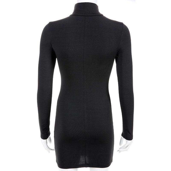 black high collar hollow out bodycon dress - Lupsona