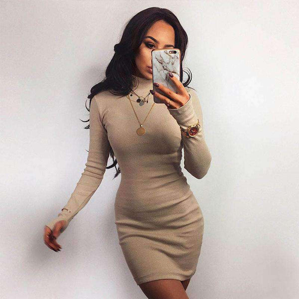 mock neck candy color slim dress