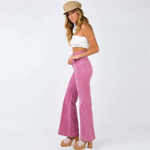 high waisted corduroy bell-bottoms pants - Lupsona