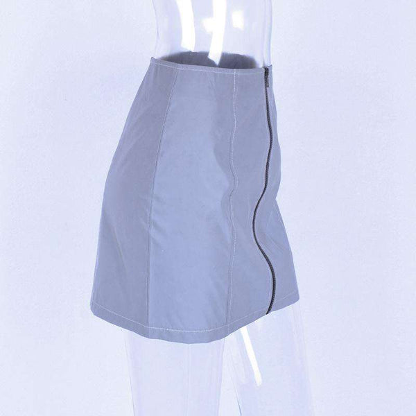 front zipper light-reflecting high waisted skirt - Lupsona