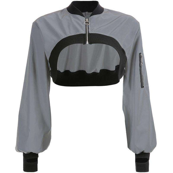 hip-hop irregular light-reflective cop top - Lupsona