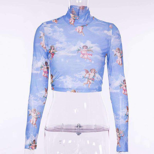 love cupid printed mock neck crop top