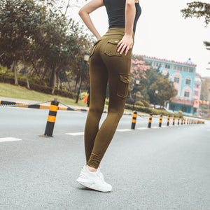 peachy Butt High waisted Slim Cargo Yoga Hosen Leggings - Lupsona