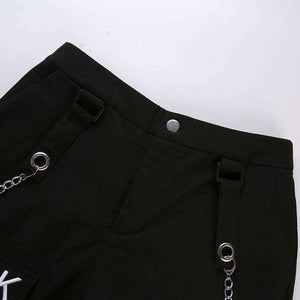 double chain zipper casual pants - Lupsona