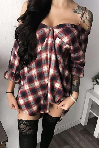 Off-the-shoulder Tartan Shirt Dress