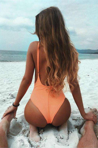 2 color patch backless one-piece swimsuit - Lupsona