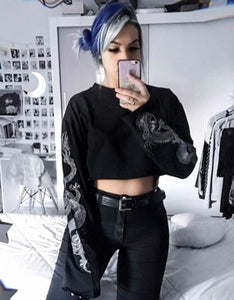 punk crewneck printed sleeved cropped sweatshirt - Lupsona