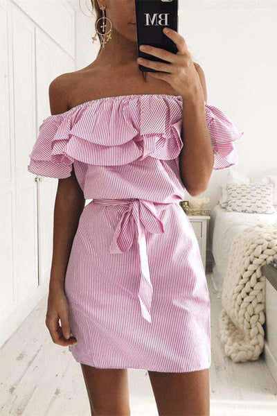Falbala Off-the-shoulder Dress Striped - Lupsona