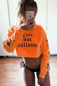 Gothic Cute But Callous Roses Printed Sleeves Crop Hooded Sweatshirt - Lupsona
