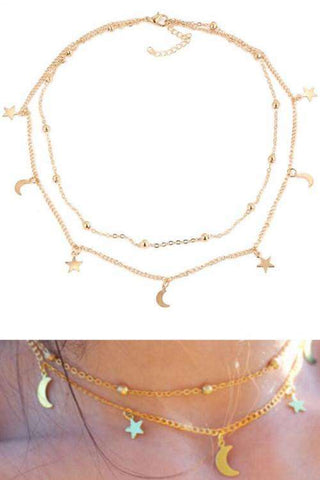 Collar Moon Star Simple de doble capa