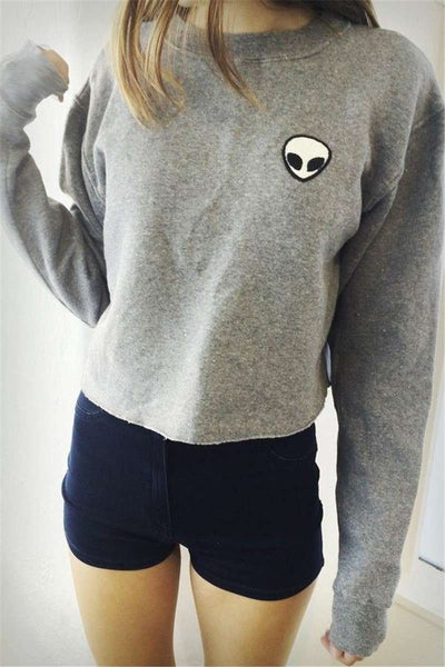 Alien Pattern Oversize Warm Crop Sweatshirt - Lupsona