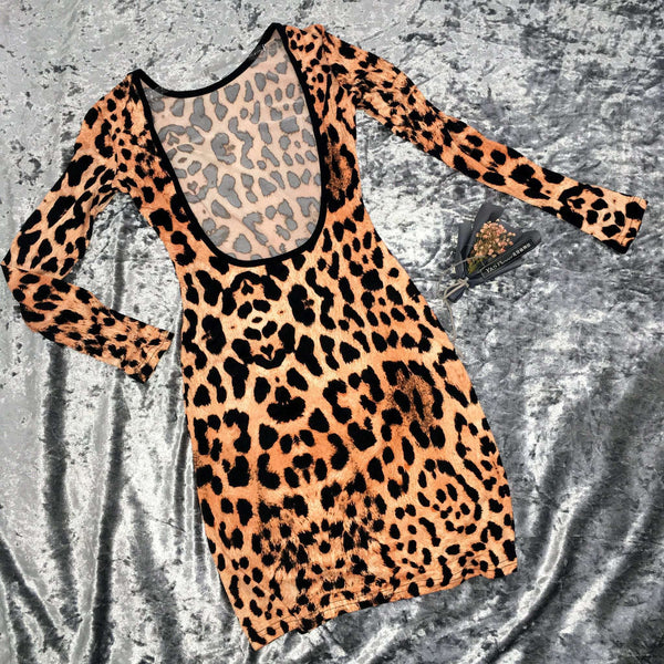 Leopard Trykt Open Back Mini Dress
