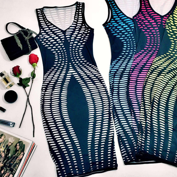 Neon Geometric Printing Bodycon Party Dress