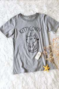 Kitticorn Pattern Cotton Casual T-paita - Lupsona