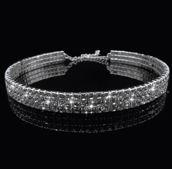 2 / 3 / 4 linjer Sparkle Diamonds Simple Smal Choker - Lupsona