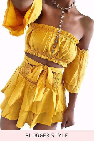 Tube Top Layered Skirt Yellow Two-piece Set