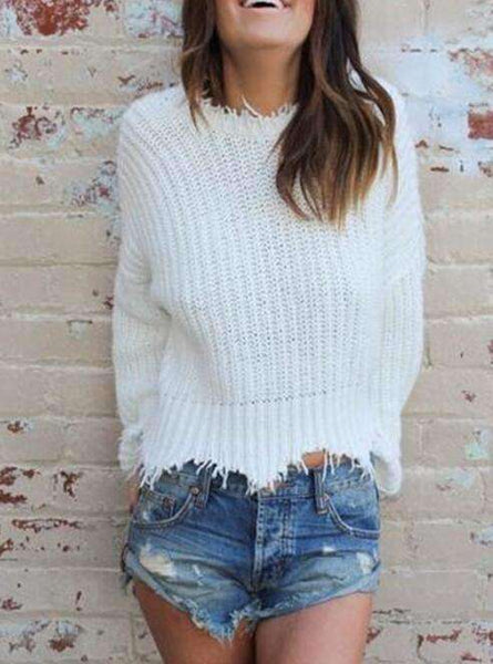 Deep V Neck Tassels Uregelmessig Loose Crop Sweater - Lupsona