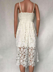 V Neck Neck Floral Lace Hollow Out Strappy Calf Kleed