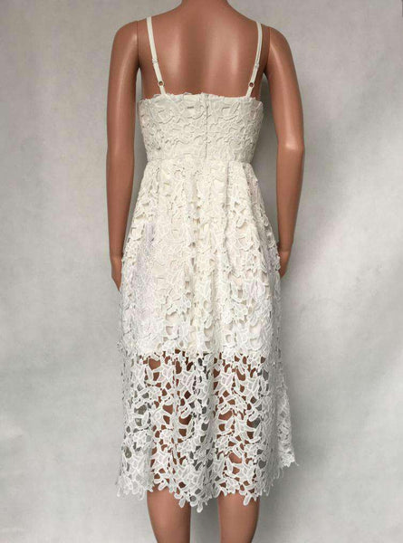 V Neck Floral Lace Hollow Out Strappy Calf Dress
