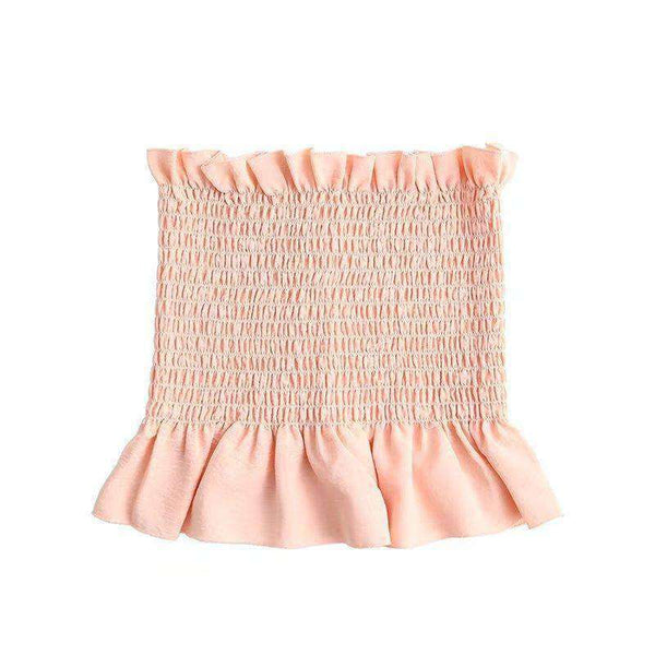 Boho Cute Elastic Strapless Tube Crop Top - Lupsona