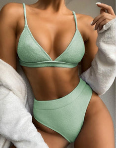 simple solid color knitted triangle 2-pieces bikini set - Lupsona