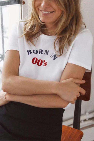 Retro BORN IN 00's / 90's / 80's Print Casual T-shirt
