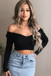 deep v neck solid color slim crop top - Lupsona