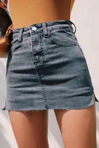 minigonna in denim slim con spacco laterale a vita alta - Lupsona