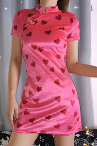 retro velvet heart printed cheongsam dress - Lupsona