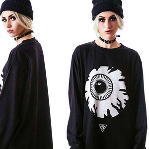 Punk Eyeball Muster Loose Sweatshirt - Lupsona