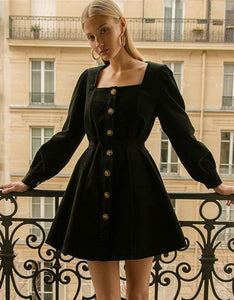 french vintage style corduroy u neck a-line dress - Lupsona