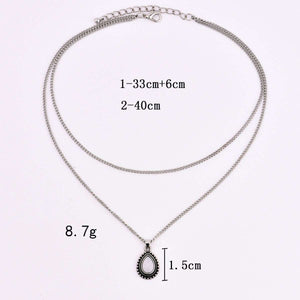 simple water drop shaped pendant necklace - Lupsona