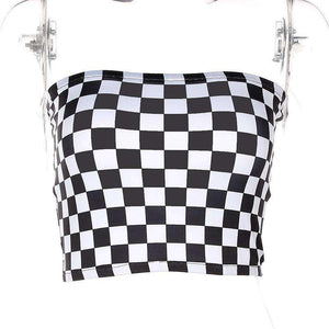 Cool Checker Print Crop Tube Top - Lupsona