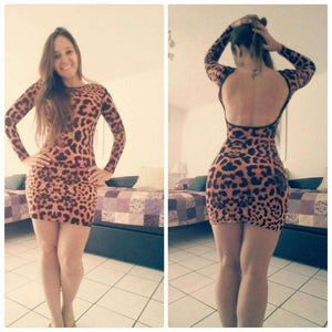 Leopard Trykt Open Back Mini Dress - Lupsona