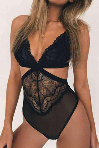 V Neck Hollow Out Lace Bodysuit Lingerie