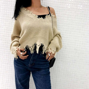 Khaki V Neck Irregular Ripped Hem Sweater - Lupsona