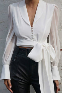 turn-down collar Chiffon Puff-sleeved Bandaged Shirt - Lupsona